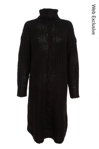 Black Chunky Knitted Jumper Dress